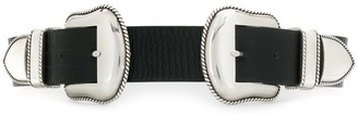 B-Low the Belt Double Buckle Croc-Effect Belt