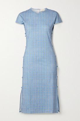 MARCIA Tchikiboum Cutout Gingham Stretch-econyl Midi Dress - Blue