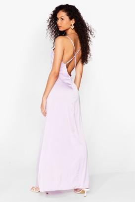 Nasty Gal Womens Cross It off the List Satin Maxi Dress - Purple - 6, Purple