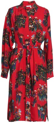 AILANTO Red Lilies Shirt Dress
