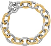 Ice 18K Yellow Gold and Sterling Silver Rhodium Plated Diamond Cut Chain Bracelet