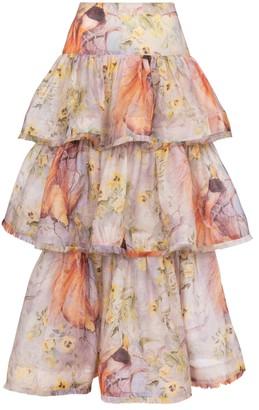 Zimmermann Botanica linen and silk maxi skirt