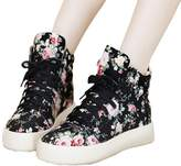Topshop Top Shop Womens Lo-top Gym Canvas Floral Lace Up Trainers Flat Slip-on Casual Sneakers,US 7