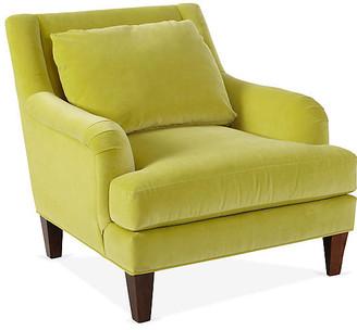One Kings Lane Merrimack Club Chair - Chartreuse Velvet