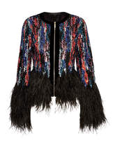 Elie Saab Feather-trimmed Embellished Tulle Jacket - Black