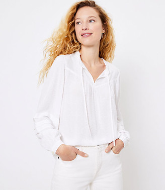 LOFT Clip Pleated Sleeve Blouse