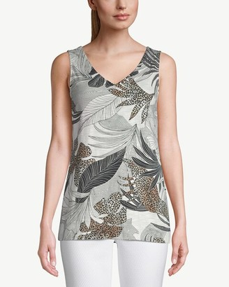 Chico's Cotton-Blend Slub Sleeveless Palm-Print Top