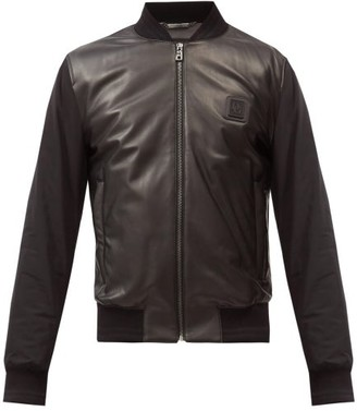 Dolce & Gabbana Logo-patch Leather And Shell Bomber Jacket - Black