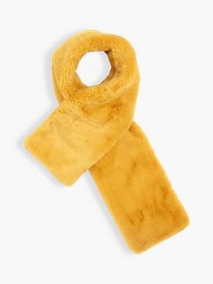 Jigsaw Zoe Faux Fur Scarf, Mustard