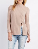 Charlotte Russe Ribbed Mock Neck Tunic Top