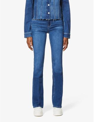 Paige Ladies Blue Leather Laurel High-Rise Stretch-Denim Jeans, Size: 25