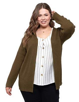 August Sky Women's Plus Size Open Front Cardigan Lightweight Lace-up Back Knit Sweater Top--2X