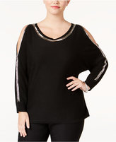 NY Collection Plus Size Beaded Cold-Shoulder Sweater