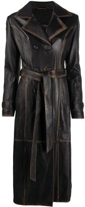 Manokhi Long Leather Trench Coat