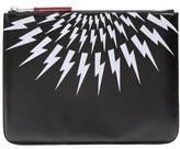 Neil Barrett Lightning Bolt-print Leather Pouch