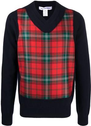 Comme des Garçons Shirt tartan check V-neck wool jumper