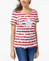 Karen Scott Petite Embellished Star Cotton T-Shirt, Created for Macy's
