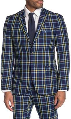 Paisley & Gray Dover Blue Plaid Two Button Notch Lapel Slim Fit Suit Separates Jacket