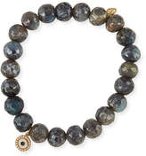 Sydney Evan 8mm Beaded Labradorite Bracelet with Diamond Disc Eye