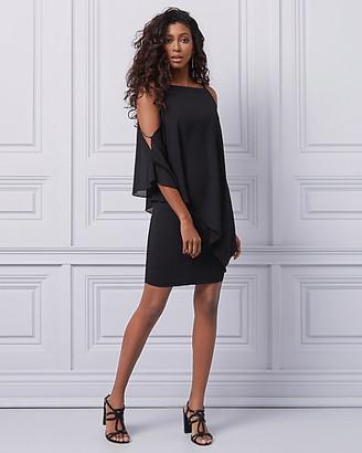 Le Château Chiffon Scoop Neck Cold Shoulder Dress