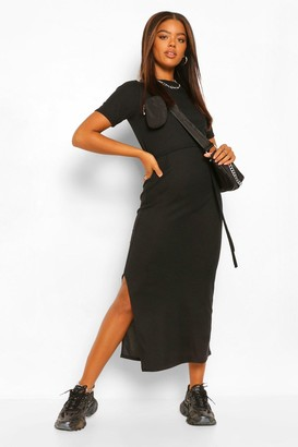 boohoo Belted Side Split Midaxi Dress