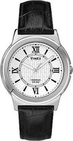 Timex Men's Dress | Black Leather Strap Textured Dial Roman Numerals | T2P520