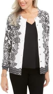Karen Scott Petite Lace Trails Cardigan, Created For Macy's