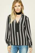 LOVE21 LOVE 21 Contemporary Striped Woven Top