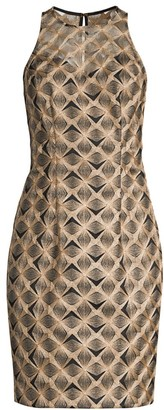 Trina Turk Eastern Luxe Origami Embroidery Sheath Dress