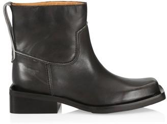 Ganni Square-Toe Leather Moto Boots