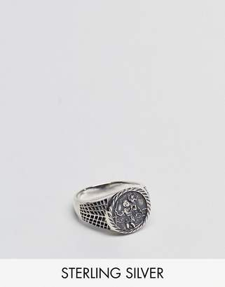 Asos Design DESIGN Sterling Silver Sovereign Ring With St Christopher