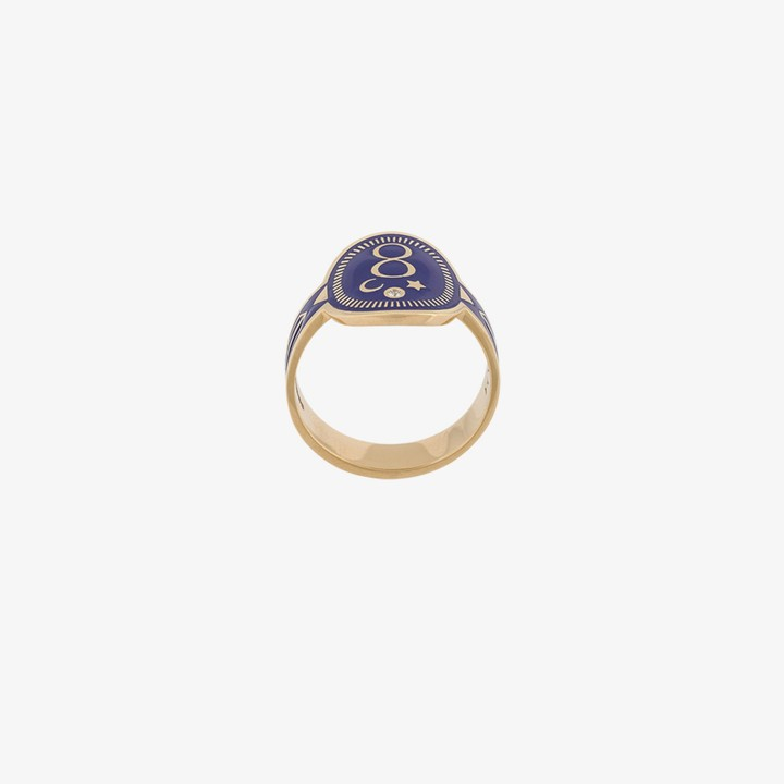 Foundrae 18K yellow gold and blue Karma Cigar ring