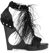 Alexander McQueen Feather-embellished Suede And Acrylic Wedge Sandals - Black