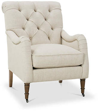 One Kings Lane Saintil Tufted Accent Chair - Natural Linen
