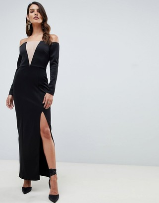 Asos DESIGN off shoulder maxi dress with mesh insert