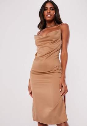 Missguided Mocha Satin Strappy Cowl Midi Dress