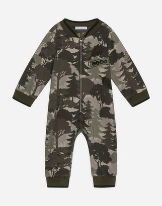 Dolce & Gabbana Jersey Onesie With Forest Print