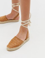 Truffle Collection woven tie leg espadrilles
