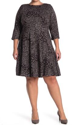 Leota Stretch Knit 3/4 Sleeve Fit & Flare Dress