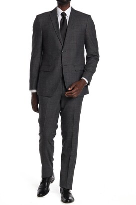 John Varvatos Collection Charcoal Plaid Two Button Notch Lapel Suit