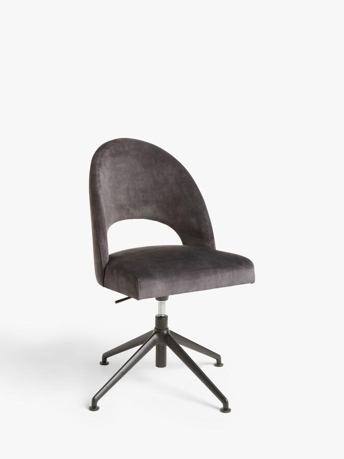 John Lewis & Partners Moritz Velvet Office Chair, Silver/Black