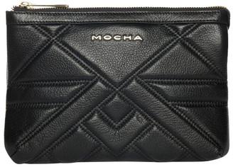 Mocha Aztec Double Leather Crossbody Bag - Black