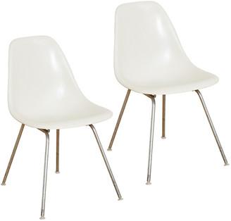 Rejuvenation Pair of White Eames Fiberglass Shell Chairs by Herman Miller