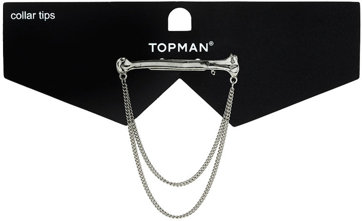 Topman Silver Bone Drape Collar Pin