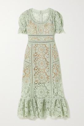 Self-Portrait Guipure Lace Midi Dress - Mint