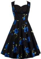 AKENA Ladies Floral 1950s Retro A Line Swing Dress