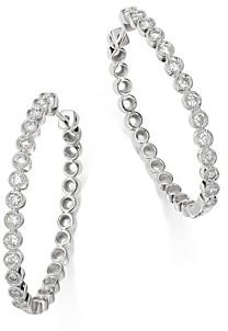 Bloomingdale's Diamond Milgrain Oval Hoop Earrings in 14K White Gold, 1.0 ct. t.w. - 100% Exclusive