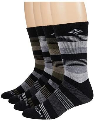Columbia Stripe Wool Crew 4-Pack (Black/Black/Black/Black) Men's Crew Cut Socks Shoes