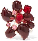 Oscar de la Renta Gold-tone crystal and resin brooch