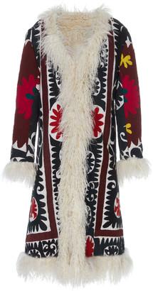 ZAZI Vintage Printed Fur Trim Suzani Vintage Coat